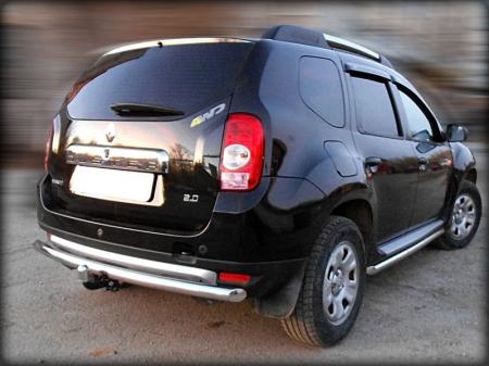 Renault Duster 2011-наст.вр.-Защита заднего бампера радиусная одинарная d-60 (под фаркоп Baltex)